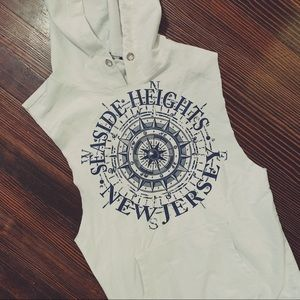 ++ [vintage] • thin white jersey shore hoodie ++